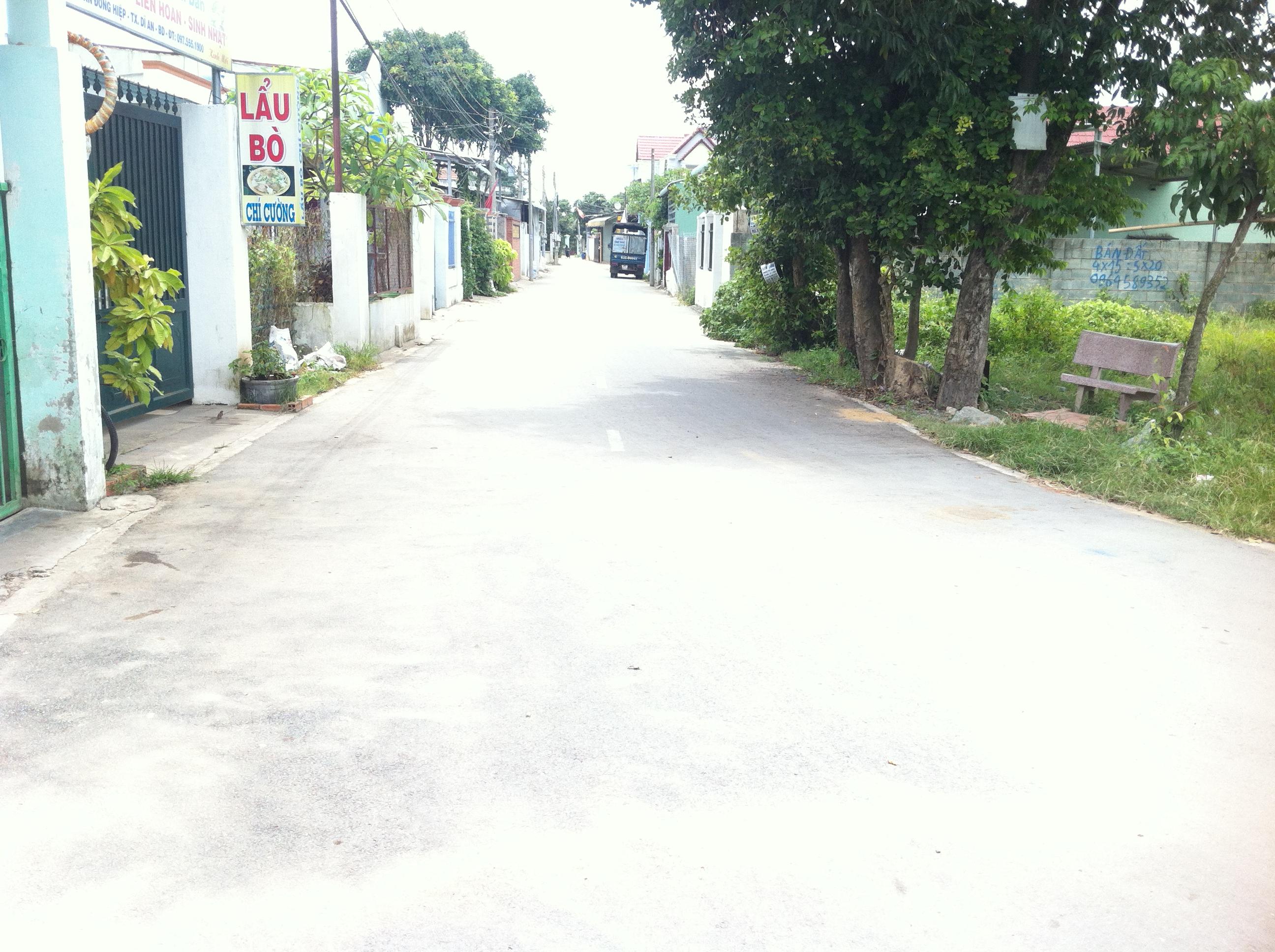Đường phía trước nhà cấp 4 mặt tiền đường nhựa ở dĩ an