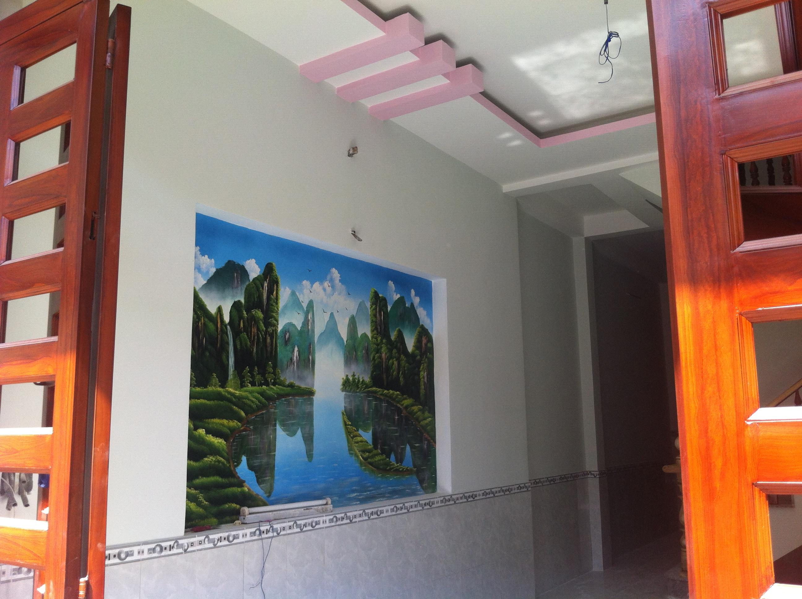 tranh tường trong nhà tọa lạc vị trí đẹp dĩ an