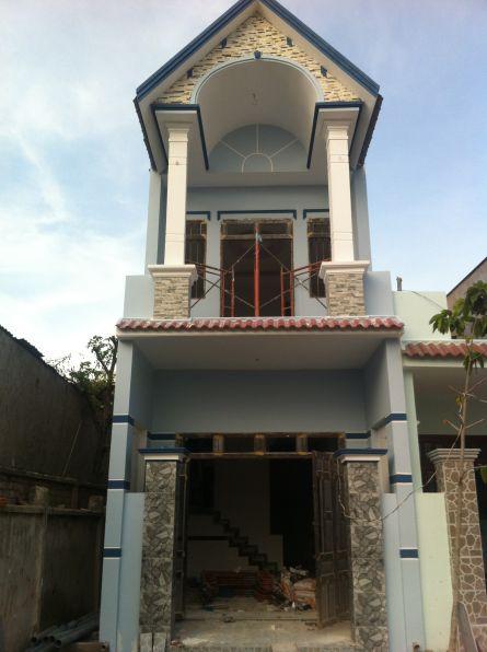 Căn nhà đang được xây dựng gần hoàn thiện.