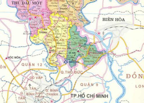 Dĩ An tiếp giáp với 2 thành phố là Biên Hòa và Thành phố Hồ Chí Minh