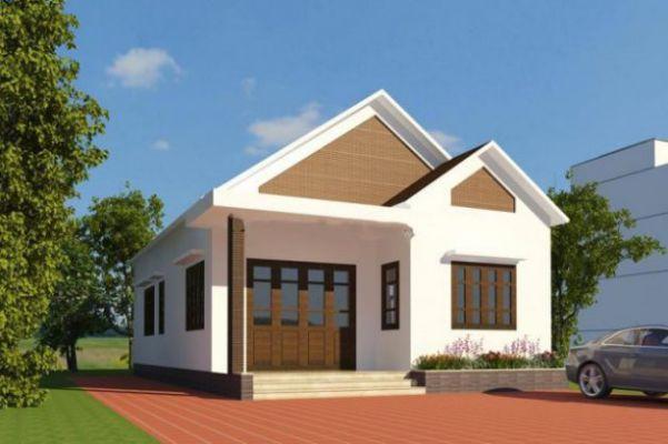 mẫu nhà cấp 4 khoảng 300 triệu, nhà với nền gạch đỏ.