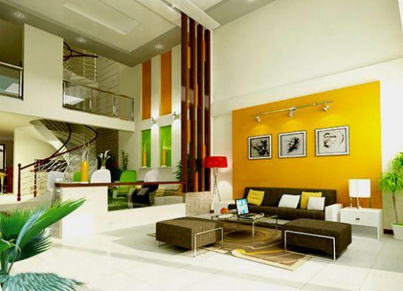 Mẫu phòng khách nhà ống đẹp màu sắc ôn hòa với nhau