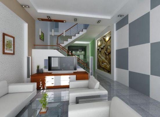 Mẫu phòng khách nhà ống đẹp mang sự tinh tế của kiến trúc mới