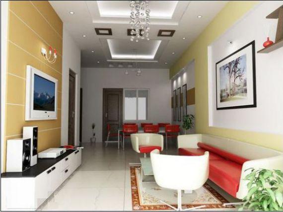 Mẫu phòng khách nhà ống đẹp sự kết hợp hài hòa của gam màu nổi của bộ bàn ghế.