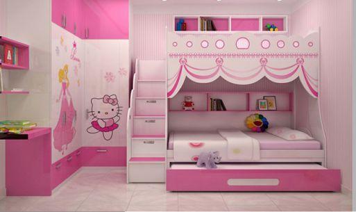 Mẫu phòng ngủ đẹp cho bé gái với cách bài trí gọn gàng.