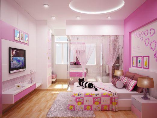 Mẫu phòng ngủ đẹp cho bé gái không gian sinh động, hài hòa.