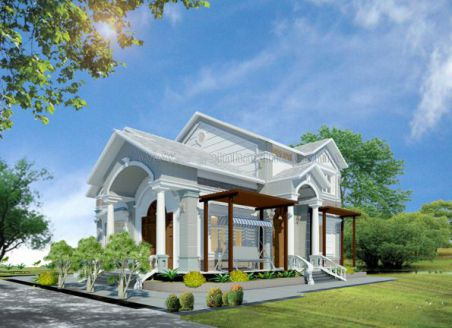 Mẫu nhà vườn ở quê mang kiến trúc hiện đại, cách phối cảnh hài hòa,