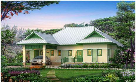 Mẫu nhà vườn ở quê với kiến trúc trang nhã, xanh tươi.