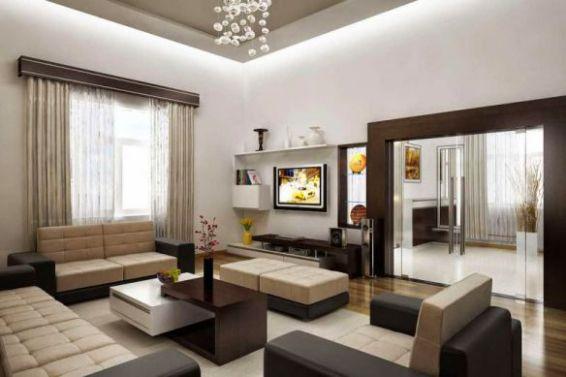 Mẫu phòng khách có bàn thờ màu sắc hài hòa với không gian.
