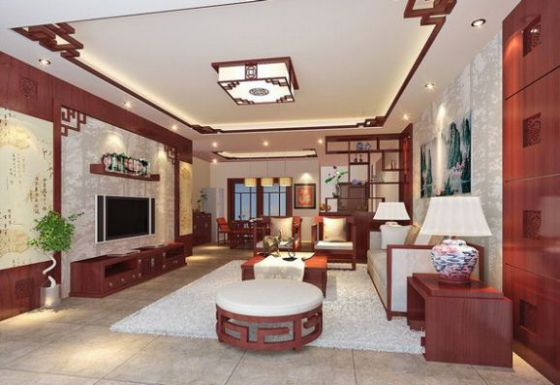 Mẫu phòng khách có bàn thờ kiểu dáng hiện đại.