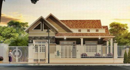 Mẫu nhà nông thôn 1 tầng đẹp, kiểu dáng đơn giản.
