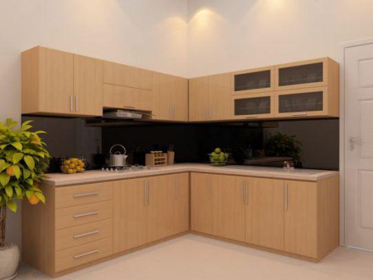 Mẫu tủ bếp chữ l đẹp kiểu dáng hiện đại-->Thiết kế 7