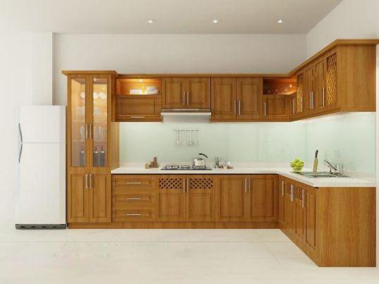 Mẫu tủ bếp chữ l đẹp kiểu dáng hiện đại-->Thiết kế 6