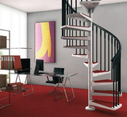 Mẫu cầu thang xoắn giúp cho không gian có diện tích hơn.