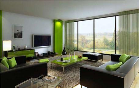 Phòng khách được lấy ánh sáng từ thiết kế kiếng trong.