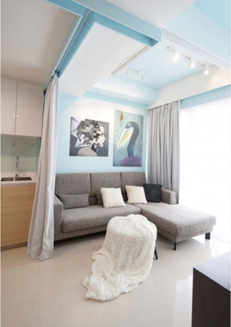 Thiết kế không gian nhỏ gọn bằng rèm vãi-->Phối cảnh 1
