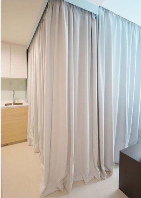Thiết kế không gian nhỏ gọn bằng rèm vãi-->Phối cảnh 2