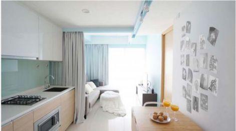 Thiết kế không gian nhỏ gọn bằng rèm vãi-->Phối cảnh 3