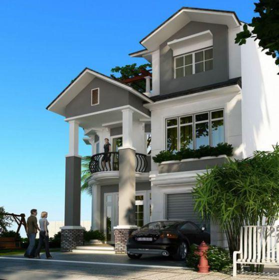 Mẫu biệt thự có tầng hầm kiểu dáng hiện đại-->Thiết kế 2