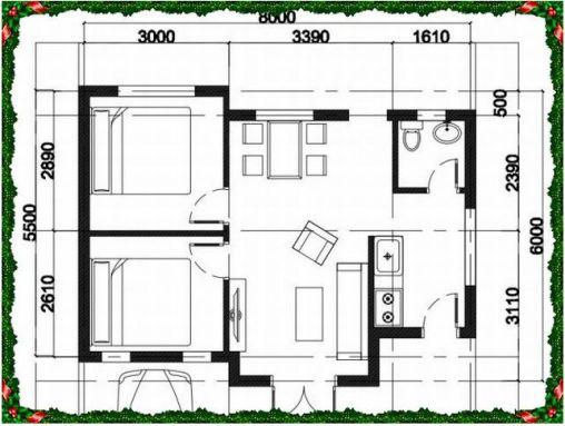 Bản vẽ nhà cấp 4 với 2 phòng ngủ.
