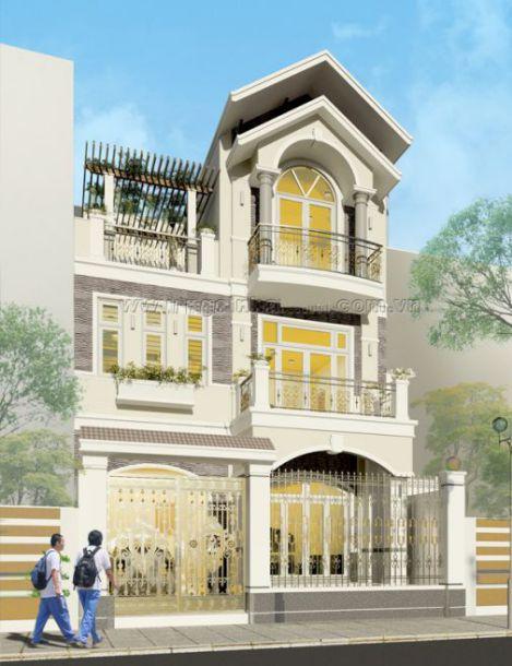 Mẫu nhà phố giả biệt thự phong cách hiện đại->hình 3