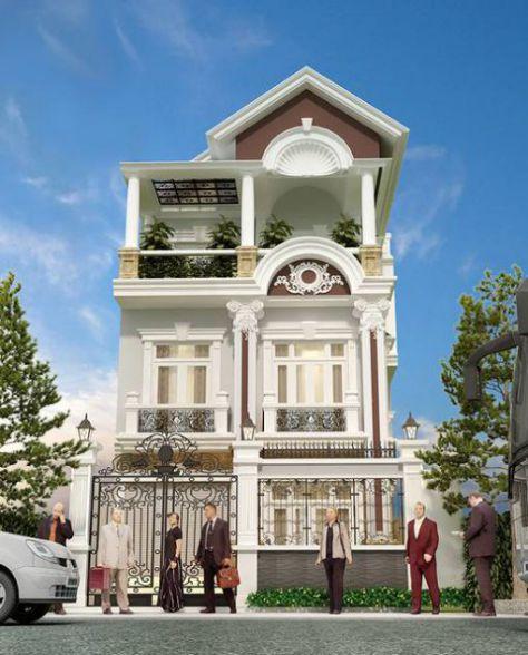Mẫu nhà phố giả biệt thự phong cách hiện đại->hình 2