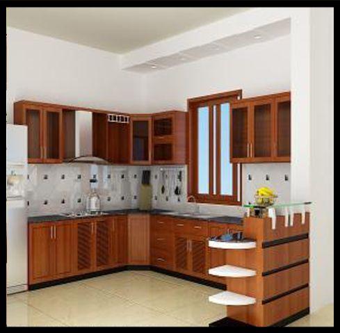 Khu bếp thiết kế gọn gàng, không gian thoáng mát.