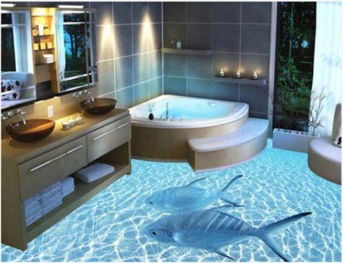 Mẫu phòng tắm đẹp sàn 3D hiện đại - Thiết kế 1