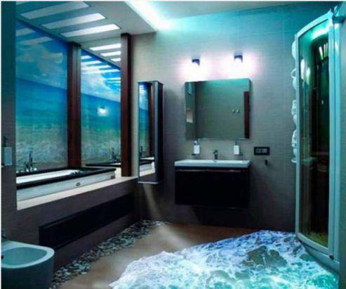 Mẫu phòng tắm đẹp sàn 3D hiện đại - Thiết kế 2