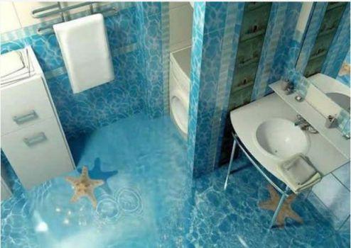 Mẫu phòng tắm đẹp sàn 3D hiện đại - Thiết kế 3