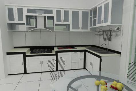 Mẫu tủ bếp nhôm kính hiện địa M3