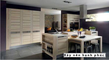 mẫu nội thất nhà bếp với tù gỗ inox hiện đại thiết kế 1