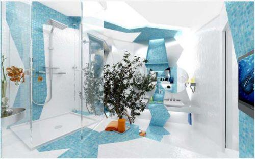 Mẫu phòng tắm đẹp màu nước biển, H2