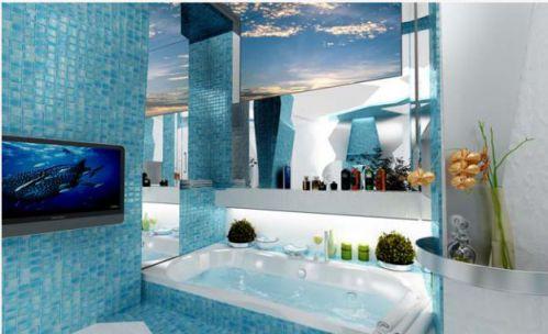 Mẫu phòng tắm đẹp màu nước biển, H4