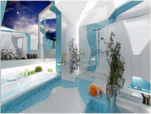 Mẫu phòng tắm đẹp màu nước biển, H5