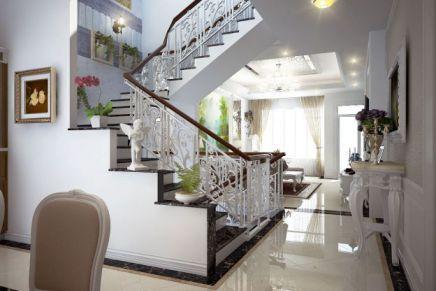 Mẫu phòng khách có cầu thang hiện đại, H1