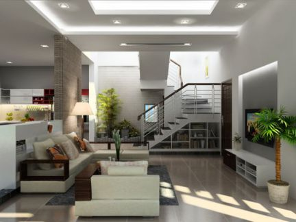 Mẫu phòng khách có cầu thang hiện đại, H4