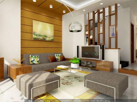 Mẫu phòng khách nhà phố thiết kế 1