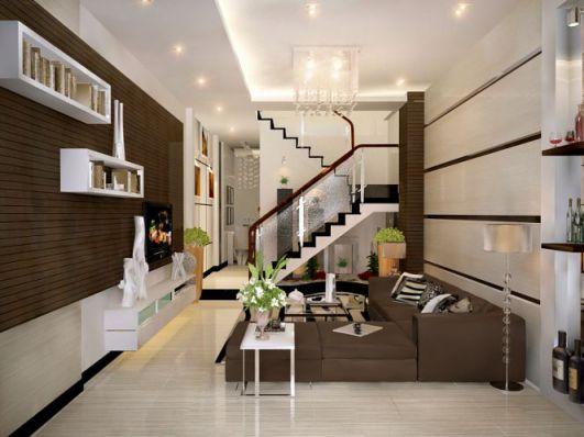 Mẫu phòng khách nhà phố thiết kế 4