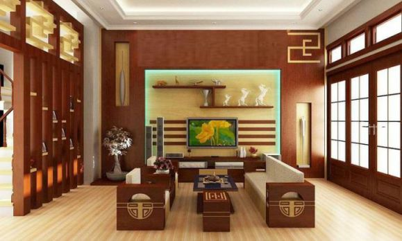 Phòng khách thiết kế bằng gỗ hiện đại Phối cảnh 1