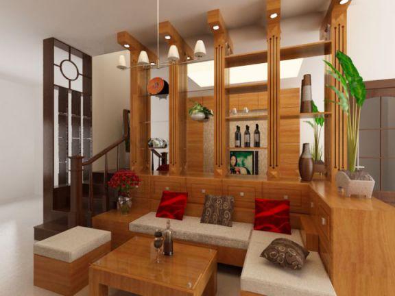 Phòng khách thiết kế bằng gỗ hiện đại Phối cảnh 2