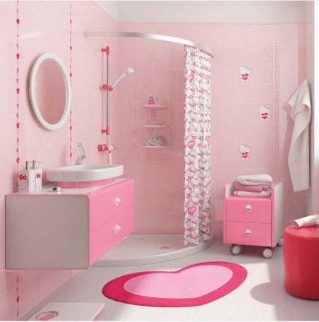 Mẫu phòng tắm đẹp với gam màu hồng | Thiết kế 1