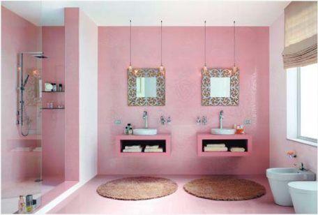 Mẫu phòng tắm đẹp với gam màu hồng | Thiết kế 3