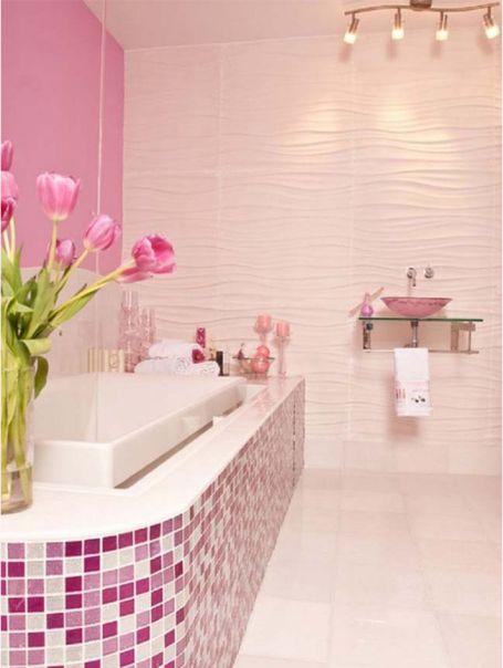 Mẫu phòng tắm đẹp với gam màu hồng | Thiết kế 4