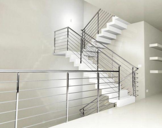 Cầu thang inox hiện đại H2