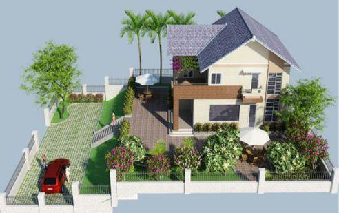 Mẫu nhà vườn đẹp hiện đại nhất - thiết kế 3