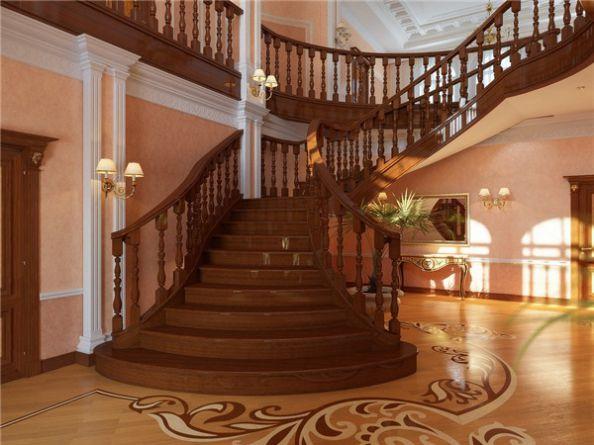 Mẫu cầu thang gỗ đẹp hiện đại H1