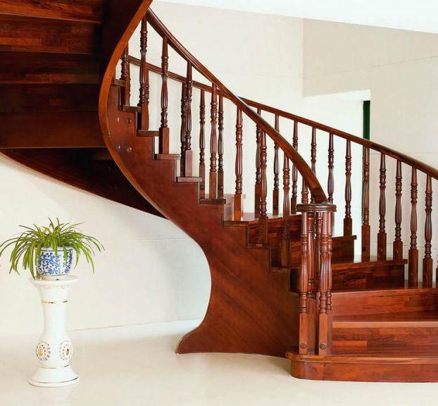 Mẫu cầu thang gỗ đẹp hiện đại H5