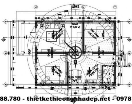Mặt bằng bát trạch nhà cấp 4 diện tích 8x10m