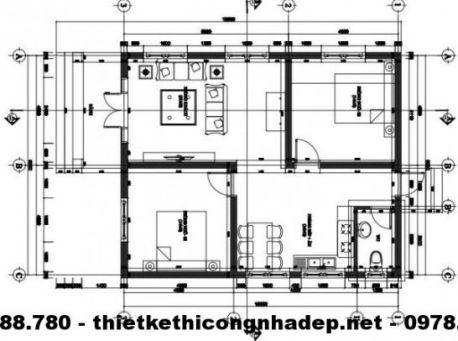 Mặt bằng nội thất nhà cấp 4 đẹp 8x10m